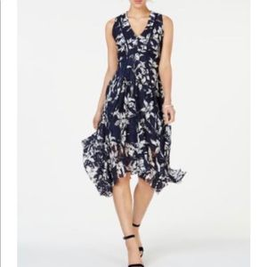 Taylor Dress 8 Navy Lace Overlay Handkerchief Hem
